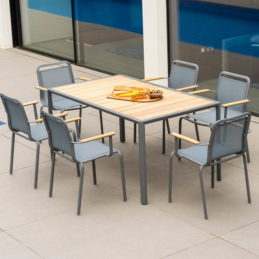 Alexander Rose Fresco Flint Dining Set - Rectangular Table with Roble Top and 6 Stacking Armchairs - Grey Sling-Mid Ulster Garden Centre, Ireland