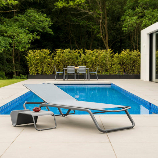 Alexander Rose Garden Furniture Alexander Rose Fresco Flint Sunbed with Grey Sling