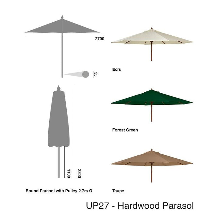 Alexander Rose Hardwood Round Parasol Umbrella with Pulley 2.7m Dia
