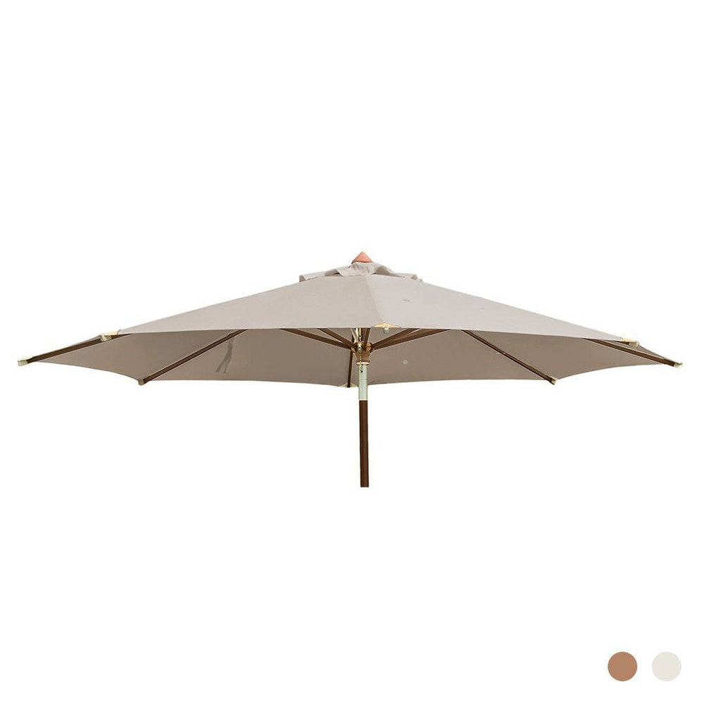 Alexander Rose Garden Furniture Accessories Ecru / No Alexander Rose Luxury Hardwood Round Outdoor Parasol with Pulley 3.0m Dia