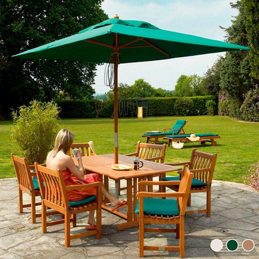 Alexander Rose Hardwood Rectangular Parasol with Pulley 2m x 3m Forest Green - Mid Ulster Garden Centre, Ireland