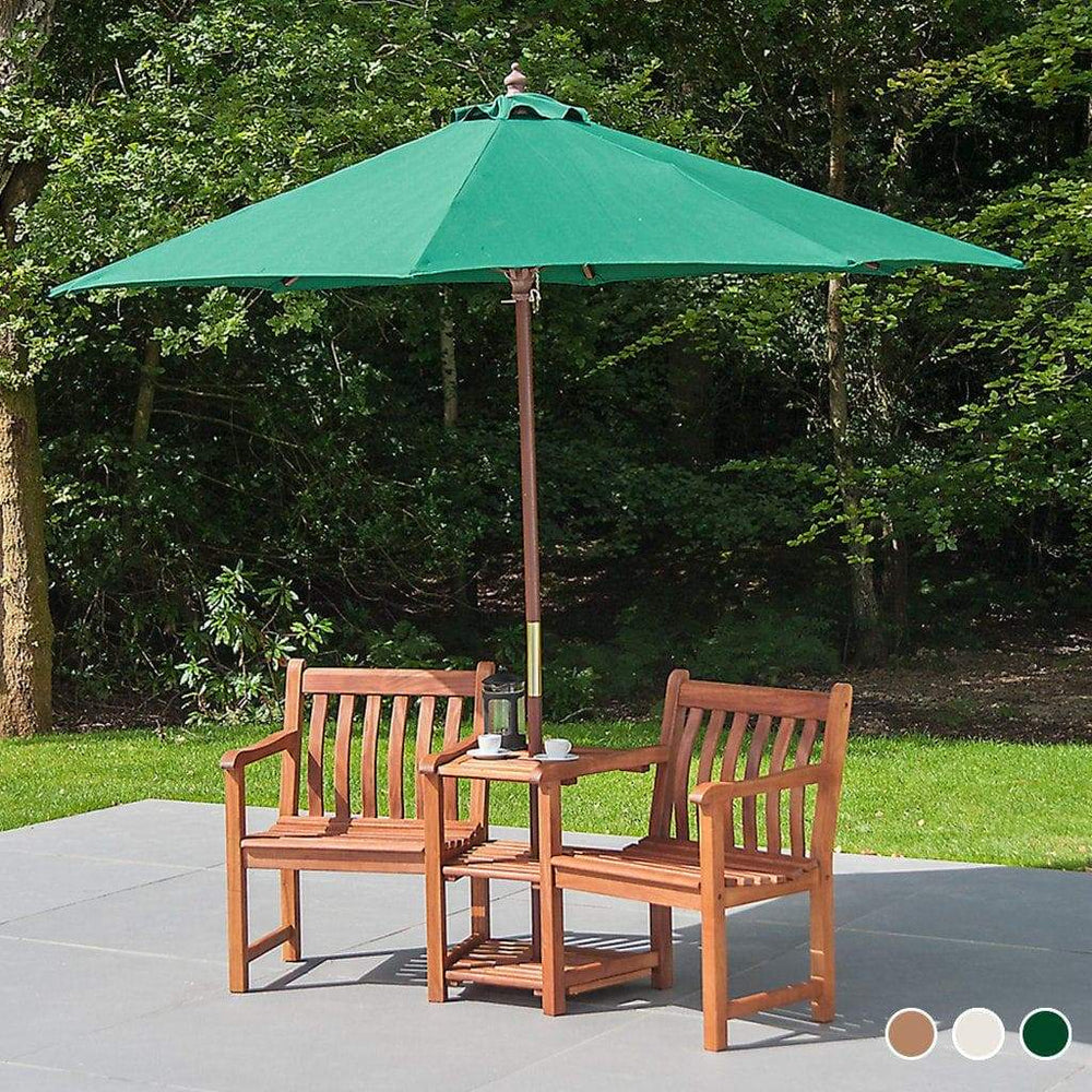 Alexander Rose Hardwood Round Sun Parasol with Pulley 3.0m Dia