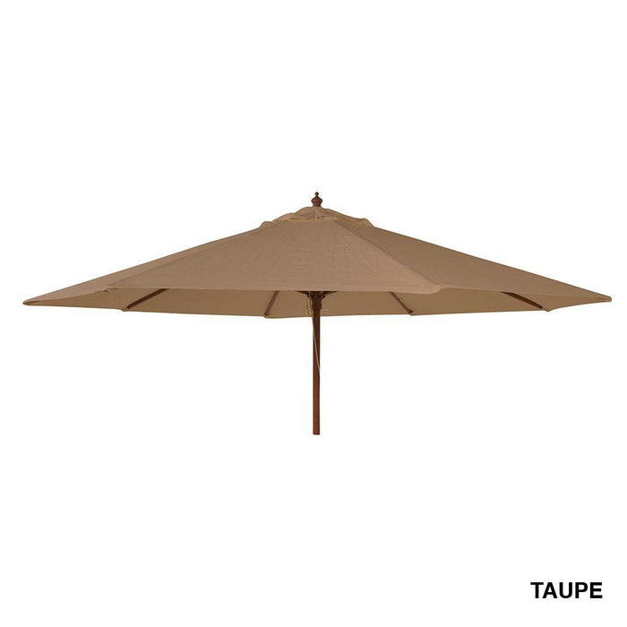 Alexander Rose Hardwood Round Parasol Umbrella with Pulley 2.7m Dia Taupe - Mid Ulster Garden Centre, Ireland