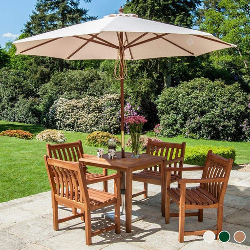 Alexander Rose Hardwood Round Parasol Umbrella with Pulley 2.7m Dia - Mid Ulster Garden Centre, Ireland