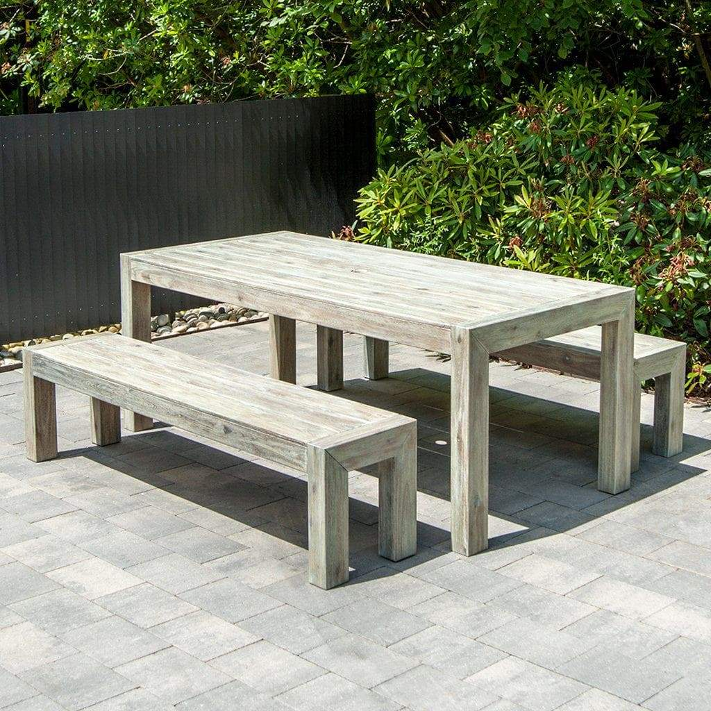 Alexander Rose Acacia Distressed Garden Table with Backless Benches in Grey
