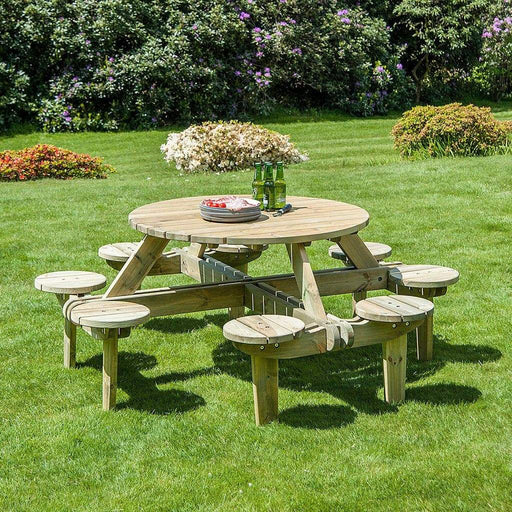 Alexander Rose Pine Gleneagles Round Wooden Picnic Table 1.88m - Mid Ulster Garden Centre, Ireland