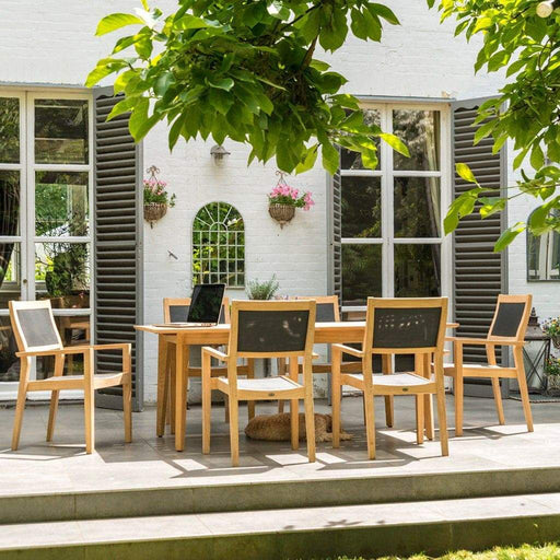 Alexander Rose Garden Furniture Alexander Rose Roble 6 Seater Stacking Armchair & Extending Table