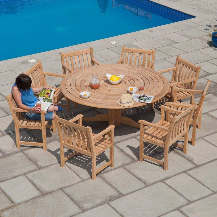 Alexander Rose Garden Furniture Alexander Rose Roble Bengal 6 Seater Outdoor Dining Set with Broadfield Armchairs
