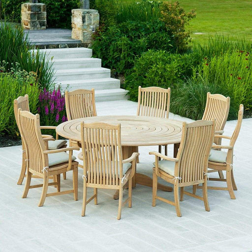 Alexander Rose Garden Furniture Alexander Rose Roble Bengal Round 8 Seater Set, Table with Lazy Susan - Bengal Chairs