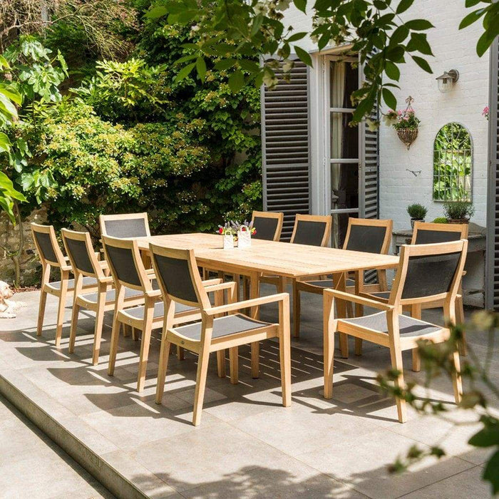 Alexander Rose Roble Extending Large Garden Table & 10 Stacking Armchairs-Mid Ulster Garden Centre, Ireland