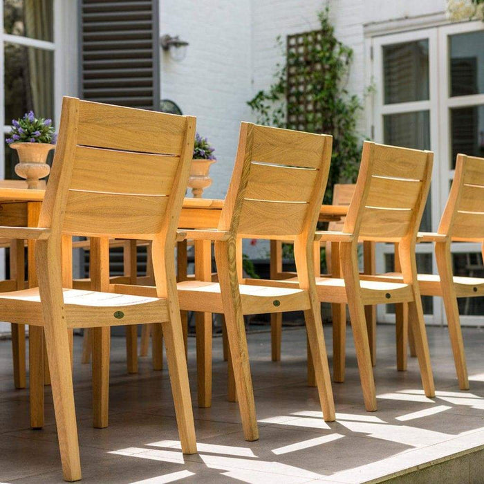 Alexander Rose Roble Extending Table and 10 Stackable Garden Chairs Detail- Mid Ulster Garden Centre, Ireland