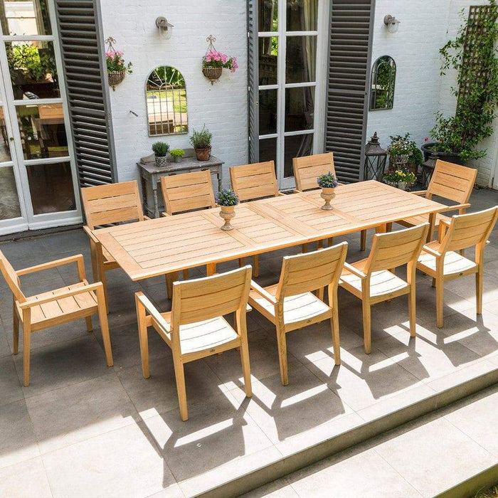 Alexander Rose Roble Extending Table and 10 Stackable Garden Chairs Mid Ulster Garden Centre, Ireland
