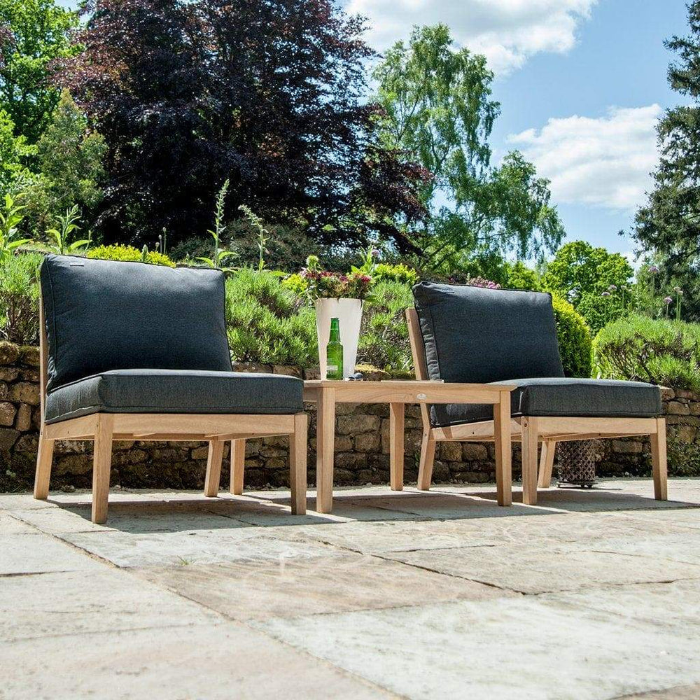 Alexander Rose Garden Furniture Alexander Rose Roble Low Coffee Table Set - with Armless Cushioned Lounge Chairs