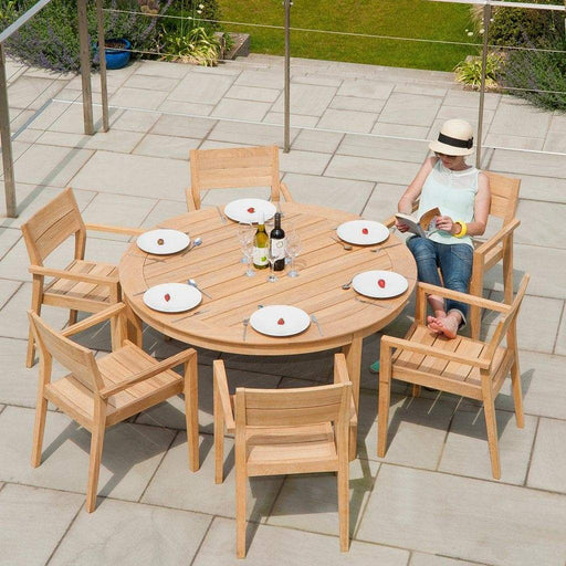 Alexander Rose Garden Furniture Alexander Rose Roble Round Dining 6 Seater Set - Stacking Armchairs