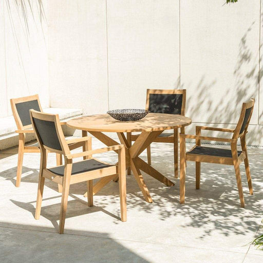 Alexander Rose Roble Cross Base Wooden Garden Table with Stacking Sling Armchairs - Mid Ulster Garden Centre, Ireland