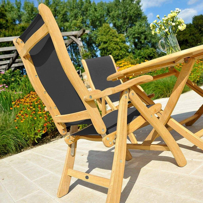 Alexander Rose Garden Furniture Alexander Rose Roble Bengal Round 8 Seater Set - Sling Recliner Armchairs