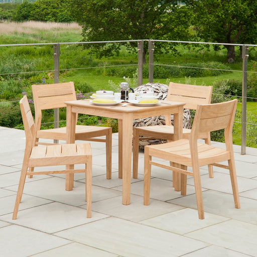 Alexander Rose Garden Furniture Alexander Rose Roble Wooden Square Garden Table with 4 Stacking Armchairs