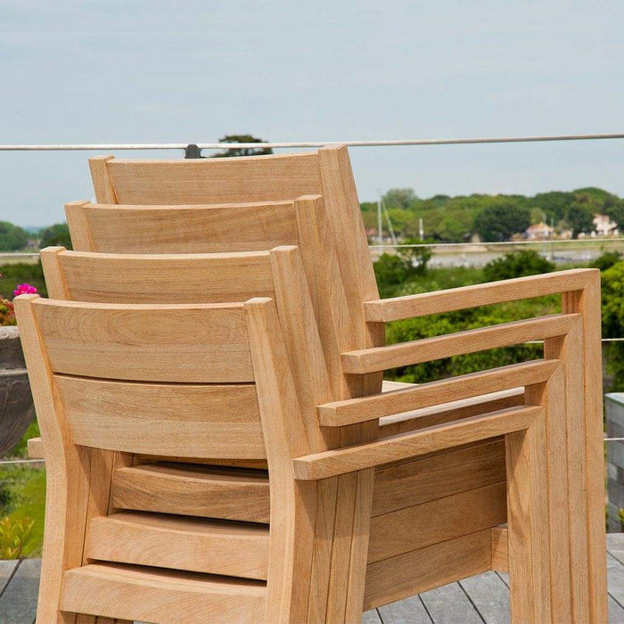 Alexander Rose Roble Rectangular 6 Seater Set - Stacking Armchair 150HB - Mid Ulster Garden Centre, Ireland