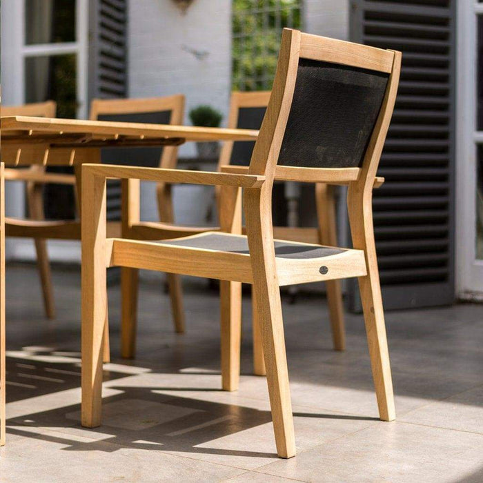 Alexander Rose Garden Furniture Alexander Rose Roble Extending Large Garden Table and 8 Charcoal Sling Stacking Armchairs