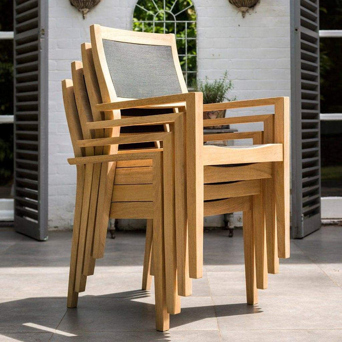 Alexander Rose Garden Furniture Alexander Rose Roble Cross Base Wooden Garden Table with Stacking Sling Armchairs