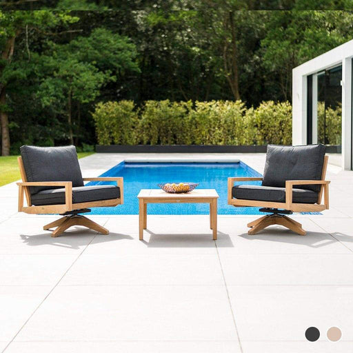 Alexander Rose Garden Furniture Alexander Rose Roble Swivel Garden Lounge Chairs and Side Table