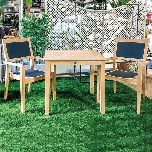 Alexander Rose Garden Furniture Alexander Rose Roble Wooden Cafe Garden Table with 2 Charcoal Sling Stacking Armchairs
