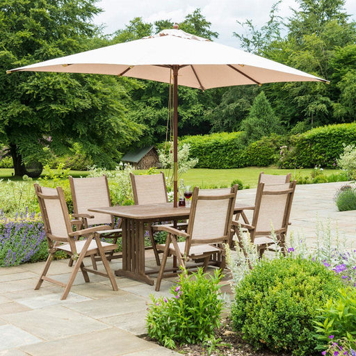 The Alexander Rose Sherwood Rectangular Table with 6 Sling Garden Recliners - Mid Ulster Garden Centre, Ireland