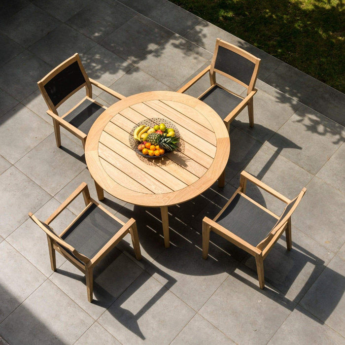 Alexander Rose Garden Furniture Alexander Rose Roble Wooden Garden Table with 4 Stacking Sling Armchairs