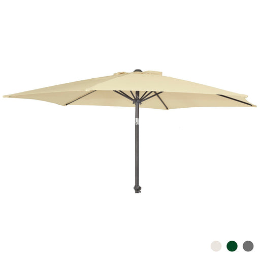 Alexander Rose Garden Furniture Accessories Ecru / No Alexander Rose Aluminium Round Parasol with Tilt and Crank 2.7m Diameter - Ecru, Forest Green or Grey