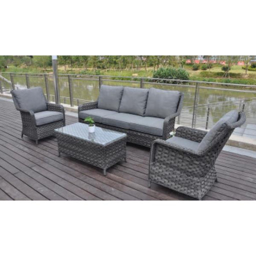 Mercer Garden Furniture Amalfi 3 Seater Sofa Lounge Set Dark Grey