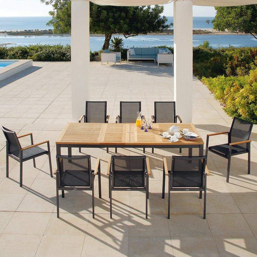 Barlow Tyrie Garden Furniture Barlow Tyrie Aura Aluminium and Teak Rectangle Patio Set