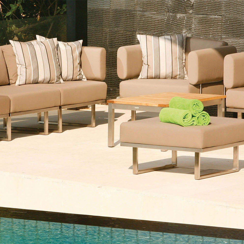 Barlow Tyrie Garden Furniture Barlow Tyrie Mercury Deep Seating Outdoor Lounging Set in SJA-3729 Taupe Fabric