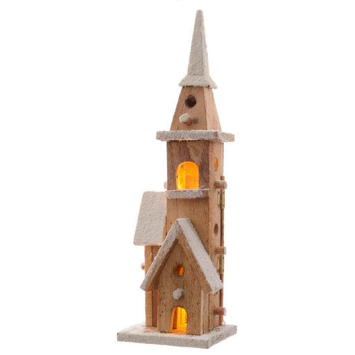 Kaemingk Lumineo LED wooden chapel (10 Lights) - Mid Ulster Garden Centre