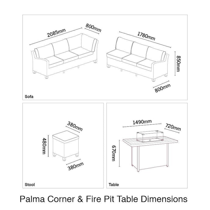Kettler Palma Corner Patio Fire Pit Set, Right-Hand in White Wash (Pre-Order)