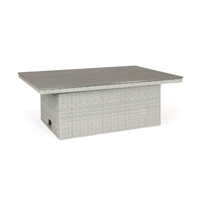 Kettler Palma Rattan White Wash Height Adjustable Table (Pre-Order) Cutout - Mid Ulster Garden Centre, Ireland