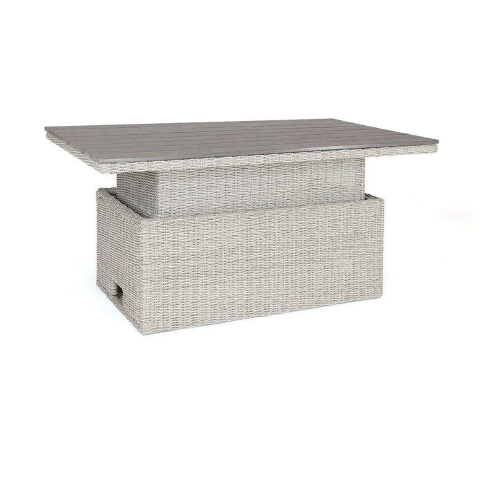 Kettler Palma Rattan White Wash Height Adjustable Table Extended (Pre-Order) Cutout - Mid Ulster Garden Centre, Ireland