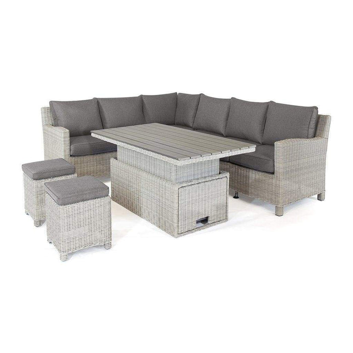 Kettler Palma Rattan Corner Sofa Set, Right-Hand in White Wash With Height Adjustable Table (Pre-Order) Cutout - Mid Ulster Garden Centre, Ireland