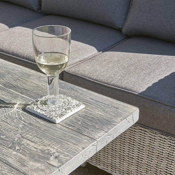 Kettler Palma Rattan White Wash Height Adjustable Table (Pre-Order) Detail - Mid Ulster Garden Centre, Ireland