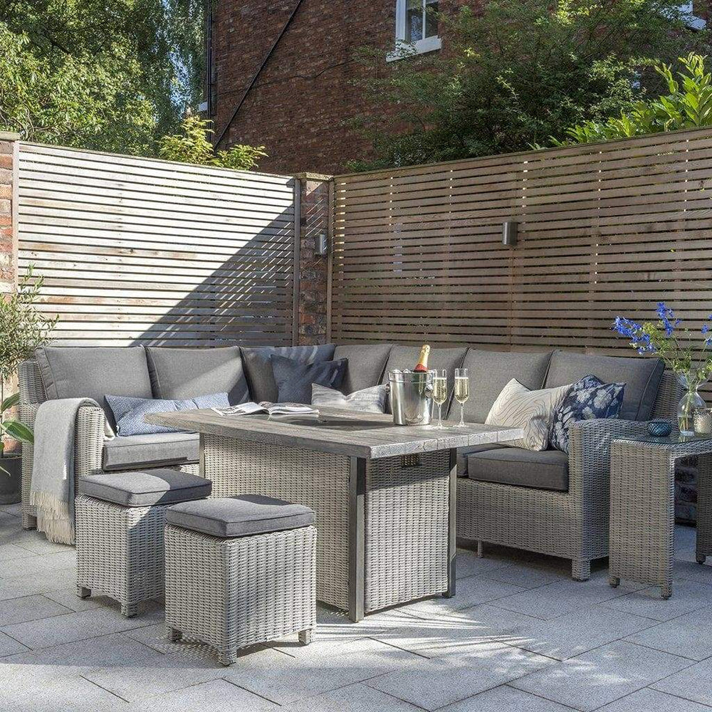 Kettler Palma Rattan Corner Sofa Set, Right-Hand in White Wash With Height Adjustable Table (Pre-Order) - Mid Ulster Garden Centre, Ireland