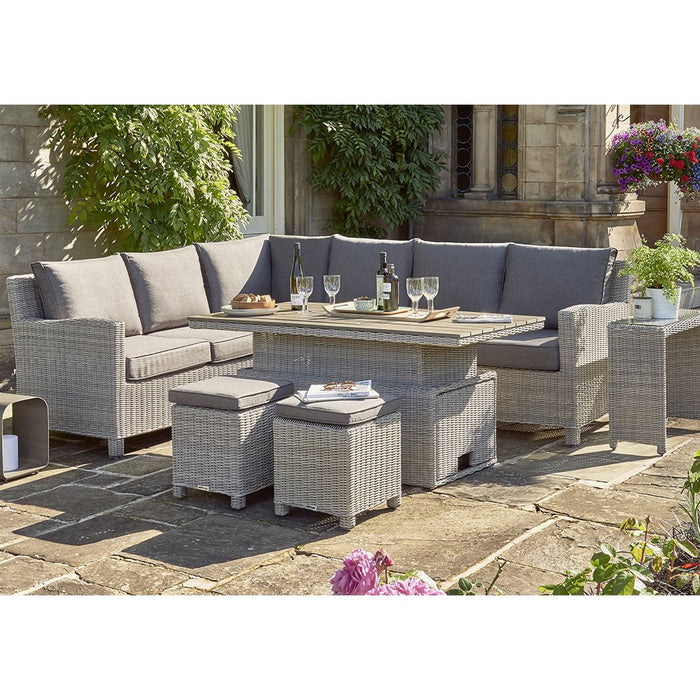 Kettler Palma Rattan Corner Sofa Set, Right-Hand in White Wash With Height Adjustable Table in Situ 2 - Mid Ulster Garden Centre, Ireland
