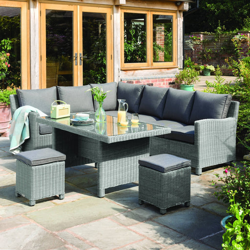 Kettler Garden Furniture Kettler Palma Mini Rattan Corner Set, Right-Hand Glass Table Top in White Wash