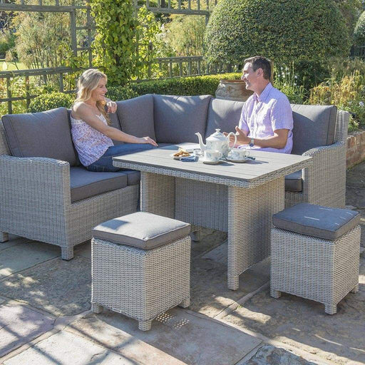 Kettler Palma Mini Corner Rattan Corner Set, Right-Hand in White Wash - Mid Ulster Garden Centre, Ireland