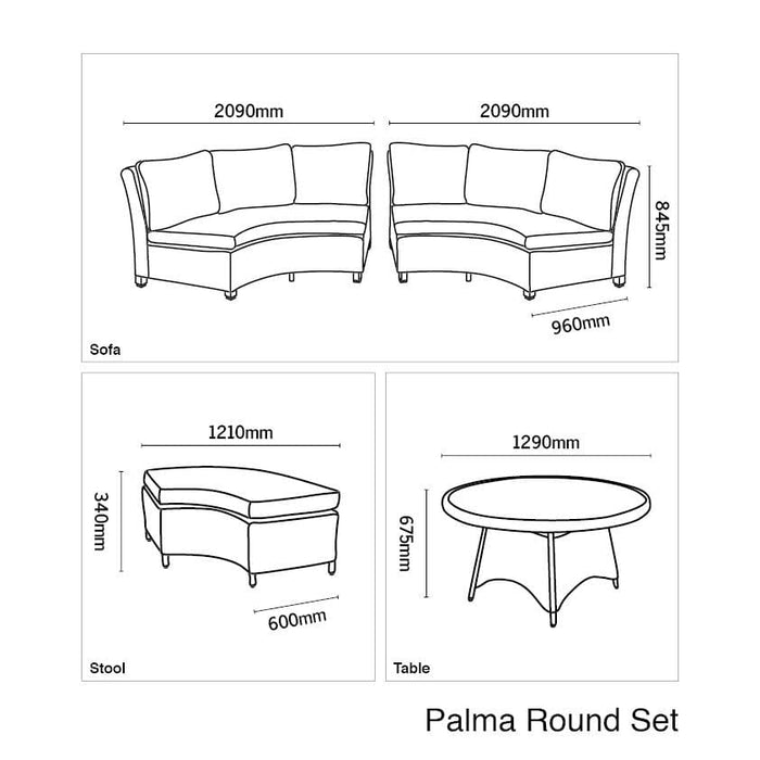 Kettler Palma Casual Dining Round Rattan Table And Chairs 8 Seat Set in White Wash