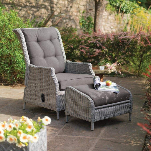 Kettler Garden Furniture Kettler Palma Sun Recliner & Footstool in White Wash