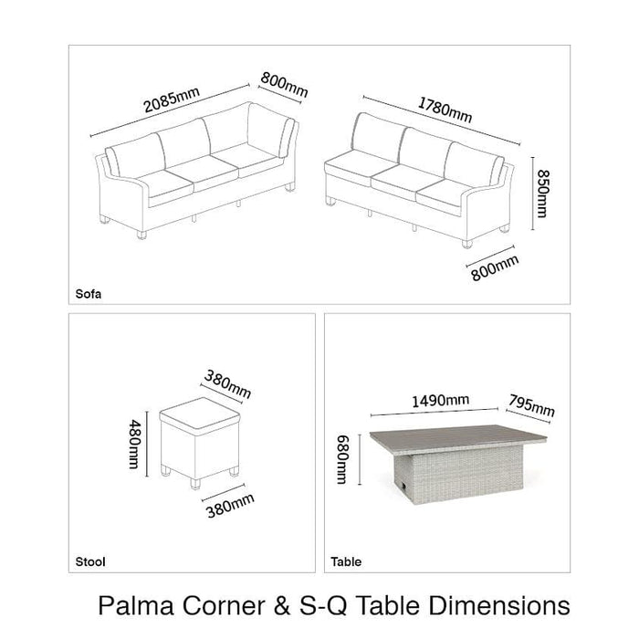 Kettler Palma Rattan Corner Sofa Set, Right-Hand in White Wash With Height Adjustable Table (Pre-Order)