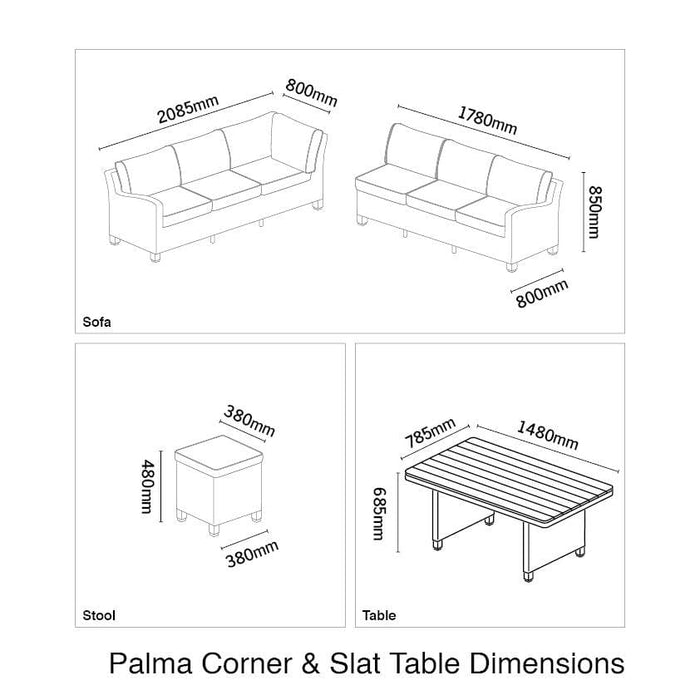 Kettler Garden Furniture Kettler Palma Right Hand Rattan Corner Garden Furniture With Slat Table White Wash