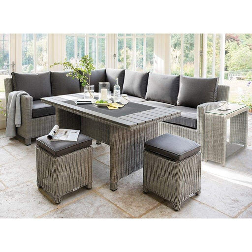 Kettler Palma Right Hand Rattan Corner Garden Furniture With Slat Table White Wash