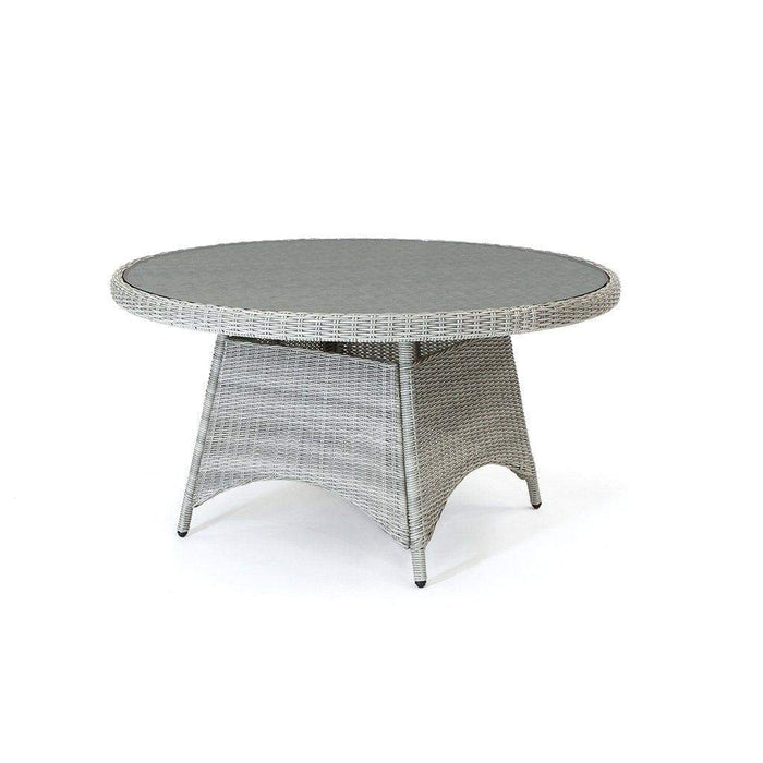 Kettler Palma Casual Dining Round Rattan Table in White Wash - Mid Ulster Garden Centre, Ireland