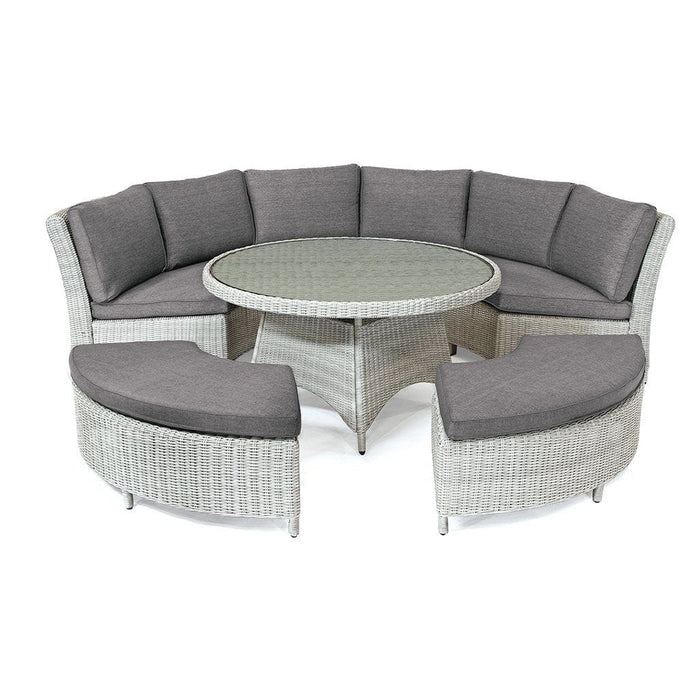 Kettler Palma Casual Dining Round Rattan Table And Chairs 8 Seat Set in White Wash, Cutout - Mid Ulster Garden Centre, Ireland