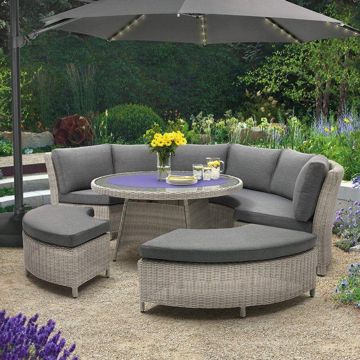 Kettler Palma Casual Dining Round Rattan Table And Chairs 8 Seat Set in White Wash - Mid Ulster Garden Centre, Ireland